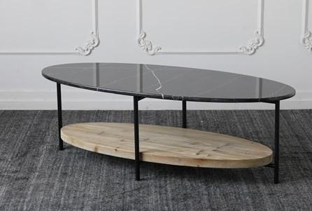 Black Marble Top + Reclaimed Pine Shelf Coffee Table - Main