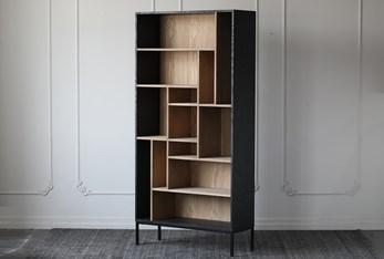 Two Tone Oak Veneer + Iron Tall Bookcase