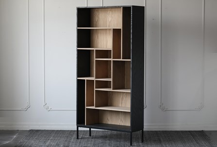 Two Tone Oak Veneer + Iron Tall Bookcase - Main