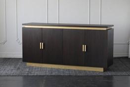 Oak Veneer With Gold Accents 4 Door Sideboard