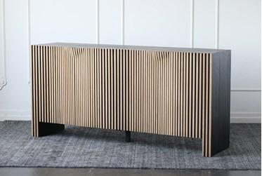 Black + Natural Reclaimed Pine Ribbed 4 Door Sideboard
