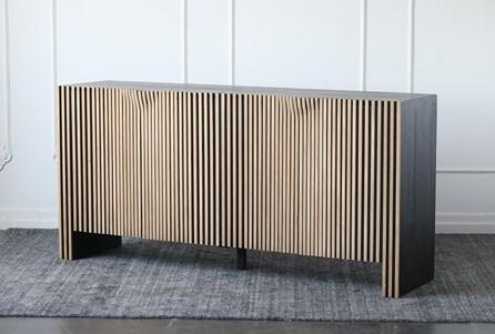 Black + Natural Reclaimed Pine Ribbed 4 Door Sideboard - Main