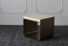 White Top + Brass Cradle Base Accent Table