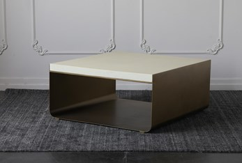 White Top + Brass Cradle Base Coffee Table