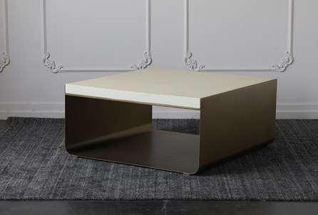 White Top + Brass Cradle Base Coffee Table - Main