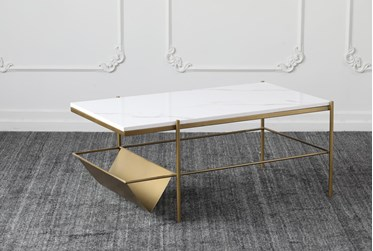White Marble + Brass Coffee Table