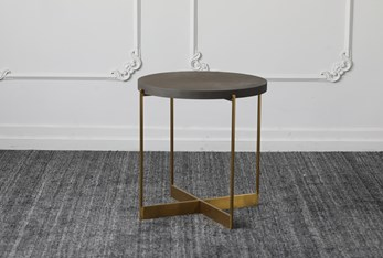 Black Top + Brass Base Accent Table