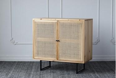 Natural Rattan + Reclaimed Pine 2 Door Cabinet