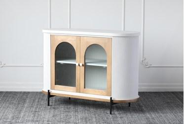 Reeded Grey + Natural Oak 2 Door Cabinet