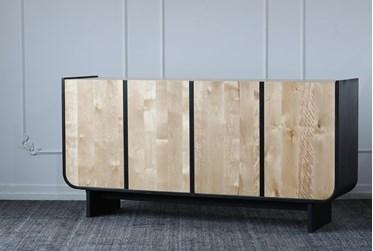 Black + Natural Pine Cradle Frame 4 Door Sideboard