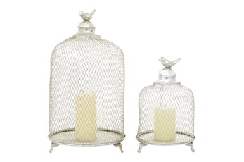 Silver Iron Lantern Set Of 2