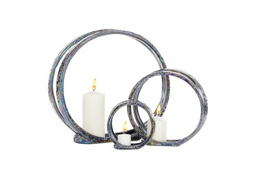 """13"""" Silver Ceramic Candle Holder"""