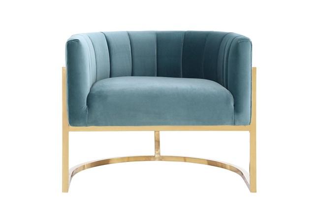 Deanna Sea Blue Velvet Accent Chair - 360