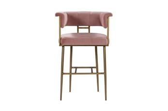 Greta Blush Velvet 31 Inch Bar Stool