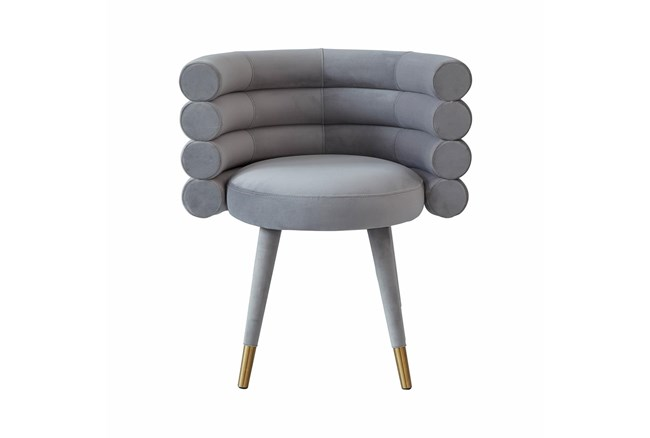 Brigitte Grey Velvet Dining Chair - 360