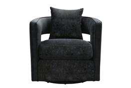 Emma Black Velvet Swivel Accent Chair
