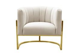 Deanna Spotted Cream Velvet Accent Chair