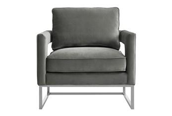Evelyn Grey Velvet Silver Frame Accent Chair