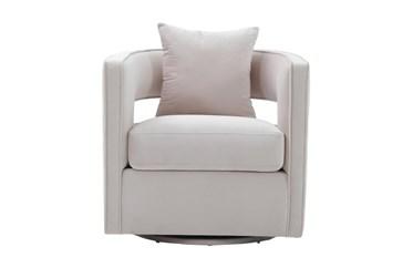 Emma Blush Velvet Swivel Accent Chair