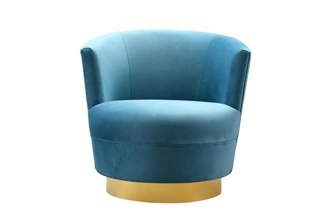 Florence Lake Blue Velvet Swivel Accent Chair - 360