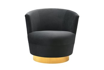Florence Black Velvet Swivel Accent Chair
