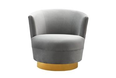 Florence Grey Velvet Swivel Accent Chair