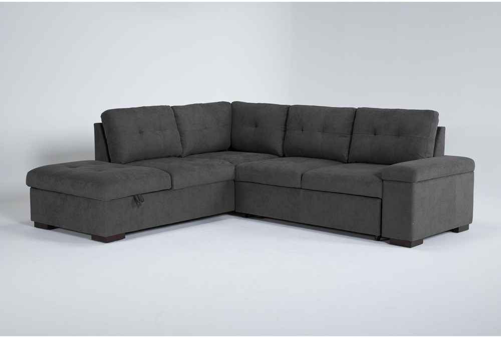 """Flinn 103"""" 2 Piece Convertible Sleeper Sectional With Left Arm Facing Storage Chaise"""