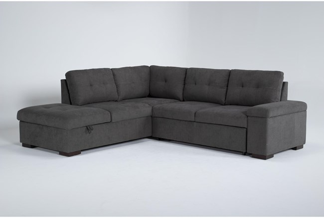 """Flinn 103"""" 2 Piece Convertible Sleeper Sectional With Left Arm Facing Storage Chaise - 360"""
