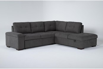 """Flinn 103"""" 2 Piece Convertible Sleeper Sectional With Right Arm Facing Storage Chaise"""