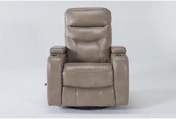 Bronson Linen Home Theater Swivel Glider Recliner With Adjustable Headrest