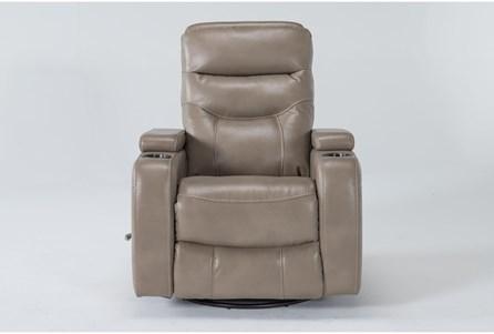 Bronson Linen Home Theater Swivel Glider Recliner With Adjustable Headrest - Main