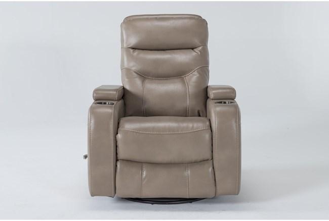 Bronson Linen Home Theater Swivel Glider Recliner With Adjustable Headrest - 360