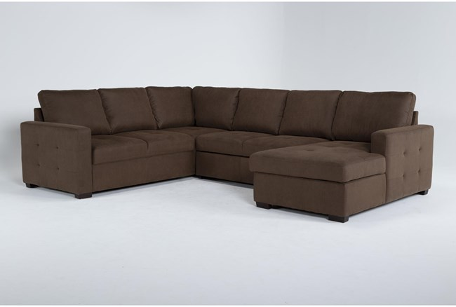 """Roxwell 124"""" 3 Piece Convertible Sleeper Sectional With Right Arm Facing Chaise - 360"""