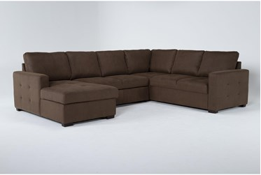 """Roxwell 124"""" 3 Piece Convertible Sleeper Sectional With Left Arm Facing Chaise"""
