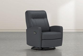 Dale IV Grey Leather Power Swivel Glider Recliner