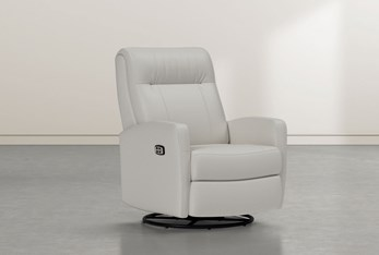 Dale IV Chalk Leather Power Swivel Glider Recliner