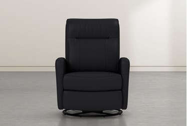 Dale IV Black Leather Power Swivel Glider Recliner With Power Headrest