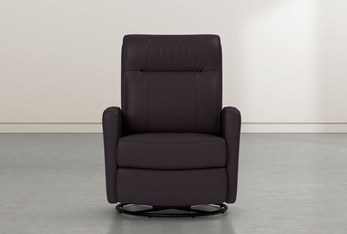 Dale IV Chocolate Leather Power Swivel Glider Recliner With Power Headrest