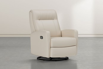 Dale IV Ivory Leather Power Swivel Glider Recliner With Power Headrest