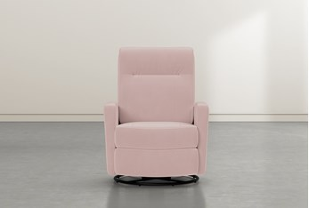 Dale IV Pink Fabric Power Swivel Glider Recliner With Power Headrest