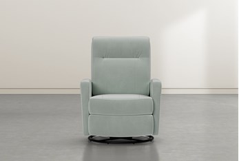 Dale IV Teal Fabric Power Swivel Glider Recliner With Power Headrest