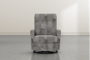 Dale IV Marble Fabric Power Swivel Glider Recliner With Power Headrest