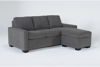Mackenzie Charcoal Queen Plus Sofa Sleeper With Reversible Storage Chaise