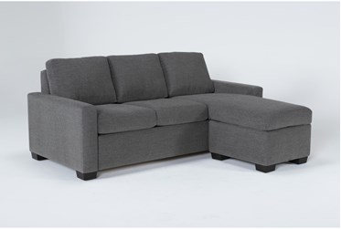 """Mackenzie Charcoal 84"""" Queen Plus Sofa Sleeper With Reversible Storage Chaise"""