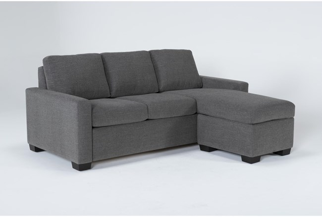"""Mackenzie Charcoal 84"""" Queen Plus Sofa Sleeper With Reversible Storage Chaise - 360"""