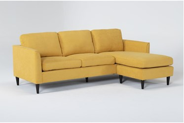 "Aya Mustard 90"" Sofa With Reversible Chaise"