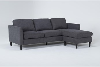 """Aya Grey 90"""" Sofa With Reversible Chaise"""