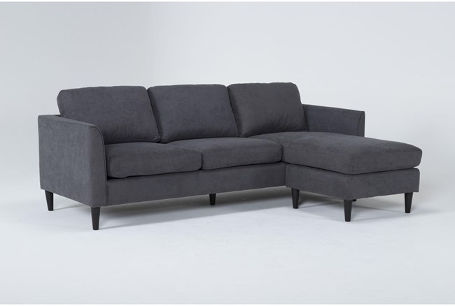 """Aya Grey 90"""" Sofa With Reversible Chaise - 360"""