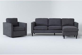 Aya Grey 2 Piece Living Room Set