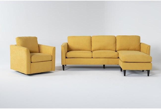 Aya Mustard 2 Piece Living Room Set - 360